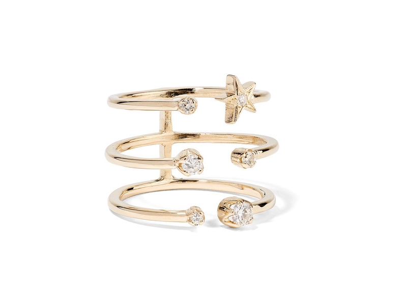 Andrea Fohrman Triple star ring mounted on gold with diamonds ~ 1'948 €