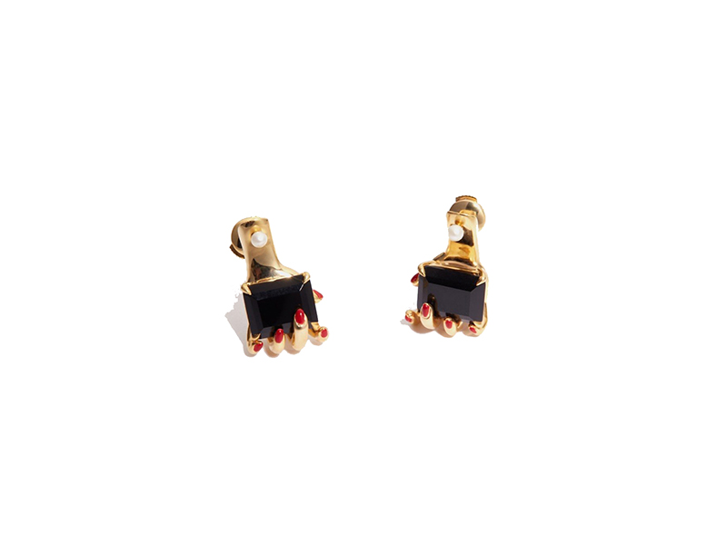Anissa Kermiche Manipulee earrings mounted on gold plated silver with black onyx, white pearl 363 £