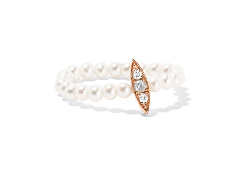 Anissa Kermiche Rose gold with pearl and diamond ring 784 €