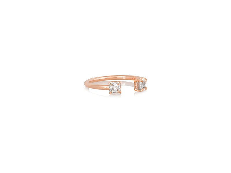 Anita Ko Asscher ring mounted on rose gold diamond ring 3974 €