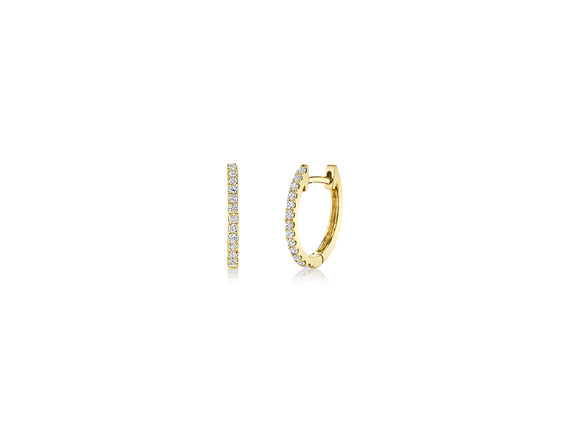 Anita Ko Diamonds huggies earrings mounted on yellow gold single row pave diamond - 1275 $
