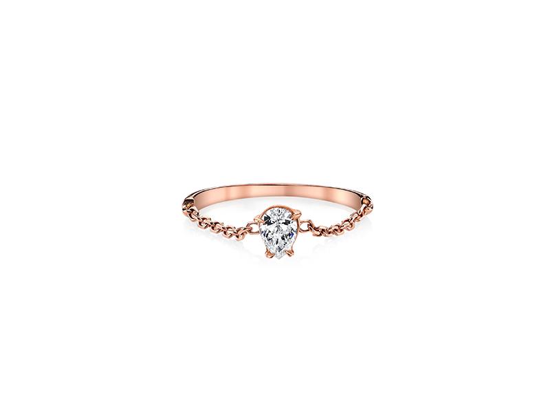 Anita Ko Pear diamond chain ring mounted on rose gold 2375 $