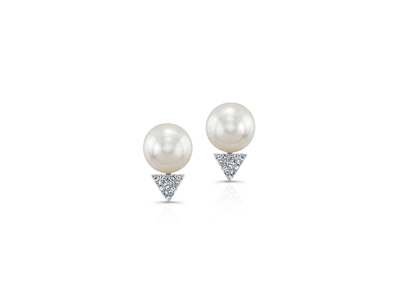 Anne Sisteron 14 kt white gold pearl diamond triangle stud earrings 380 $