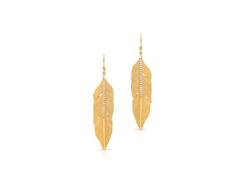 Anne Sisteron 14 kt yellow gold large plume diamond earrings 2505 $
