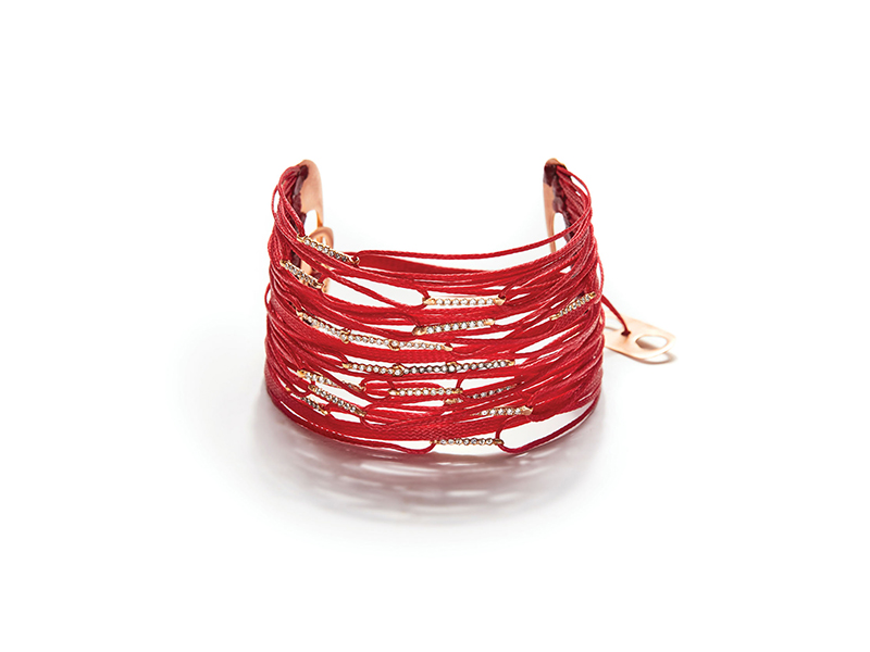 Apriati 40 cord red mix bracelet rose gold with ine make brillant cut diamonds on red cord - 5'880 €