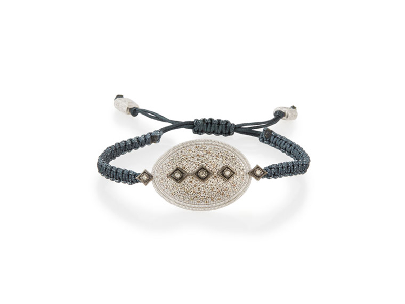 Armenta New world midnight pavé diamond pull-cord bracelet mounted on sterling silver - 1'790 $