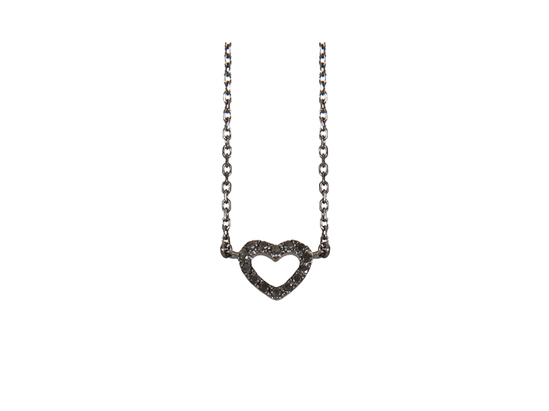 AS29 Empty mini heart black gold black diamonds necklace heart 700 €