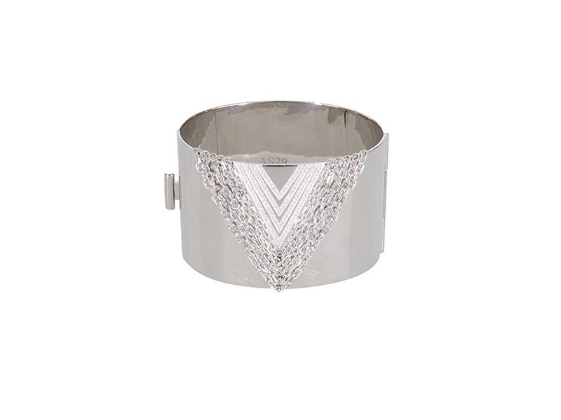 AS29 Manchette chain me silver plaque white gold and white diamonds manchette - 3645 €