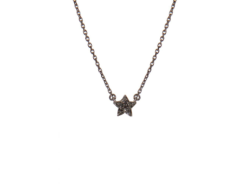 AS29 Mini star necklace mounted on black gold with diamonds 700 €