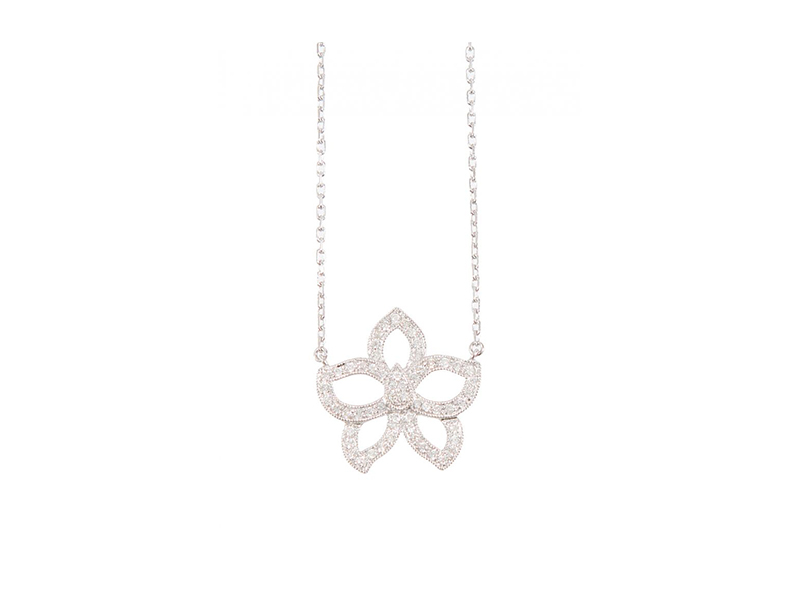 AS29 Orchidée necklace mounted on white gold with white diamonds - 1725 €