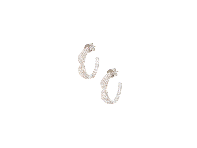 AS29 Small spine hoops earrings mounted on white gold and white diamonds - 3205 €