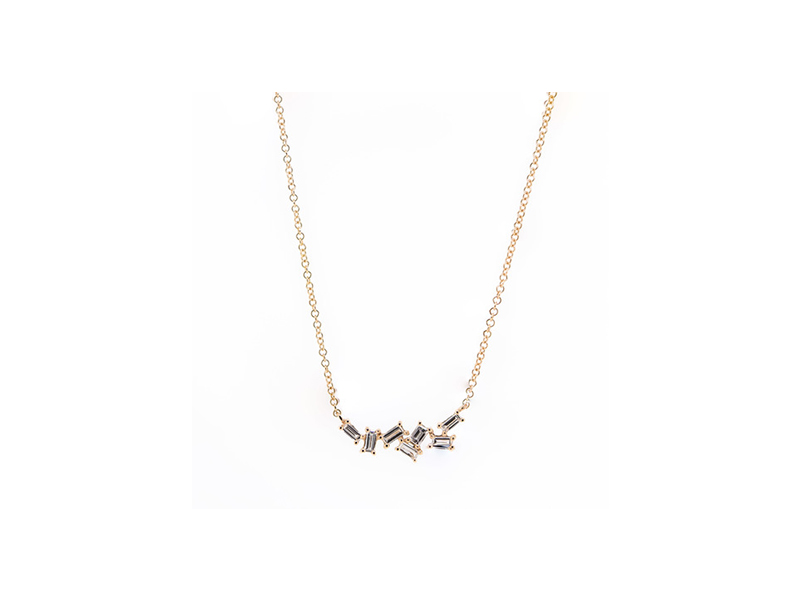 Atheria Jewelry multi baguette diamond necklace mounted on rose gold - 865 $