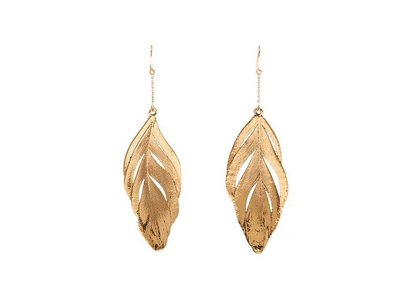 Aurelie Bidermann Gold swan feathers earrings 675 €
