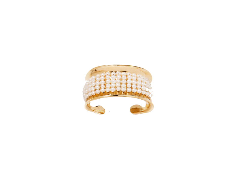 Aurelie Bidermann Cheynewalk cuff mounted on yellow gold with pearls 610 €
