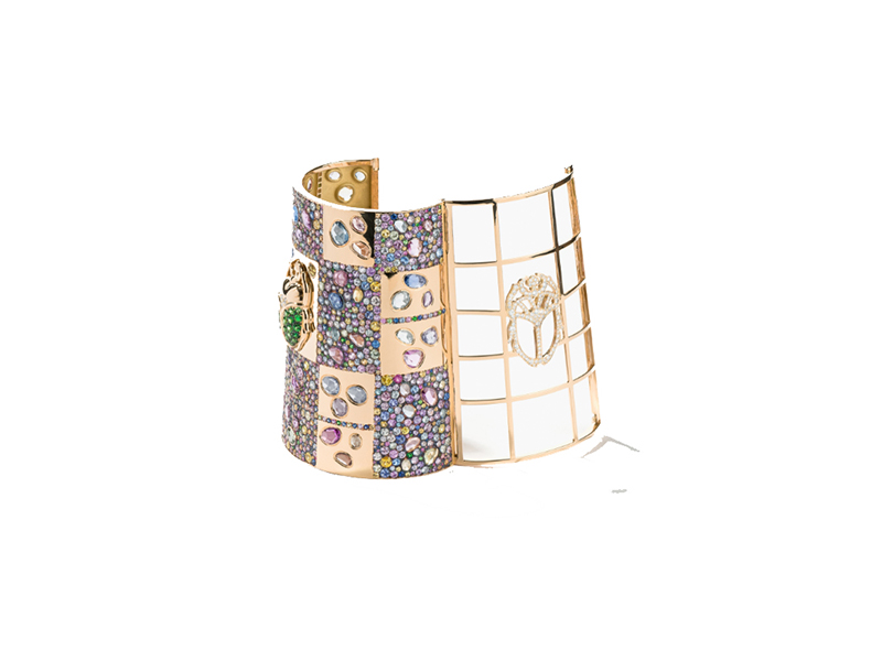 Aurelie Bidermann Scarabée cuff mounted on yellow gold with sapphires diamonds and tsavorites
