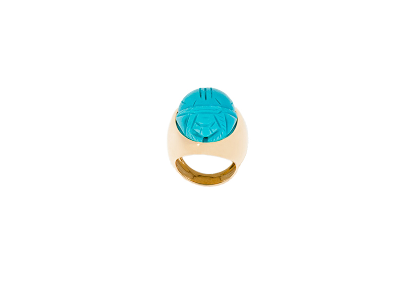 Aurélie Bidermann Turquoise scarab gold set with turquoise engraved stone 4800 €