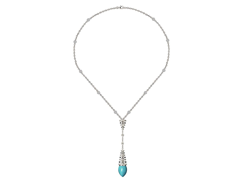 Avakian Turquoise necklace in white gold with diamonds, from the Riviera collection