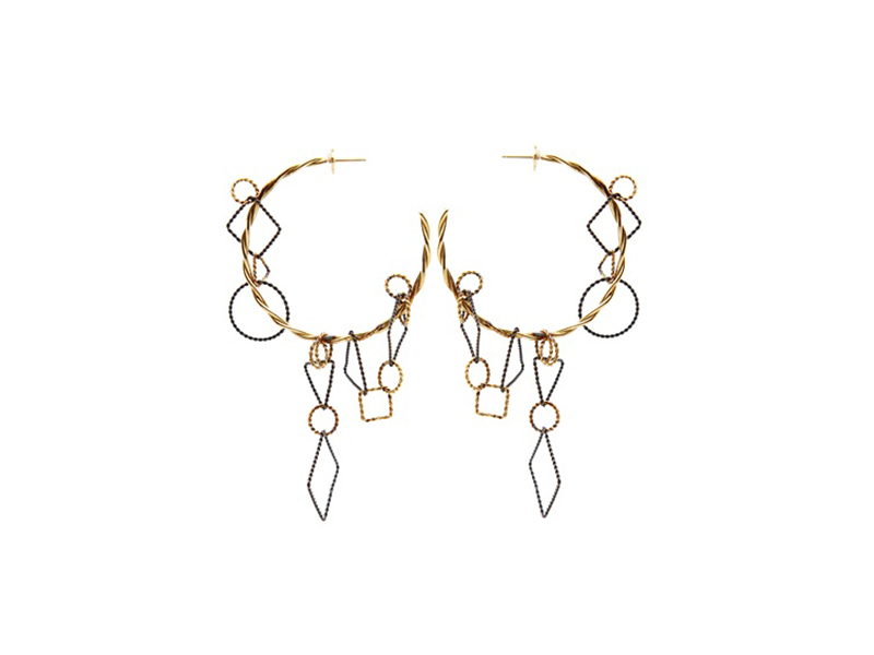 bauhaus Oxidised yellow gold hoops