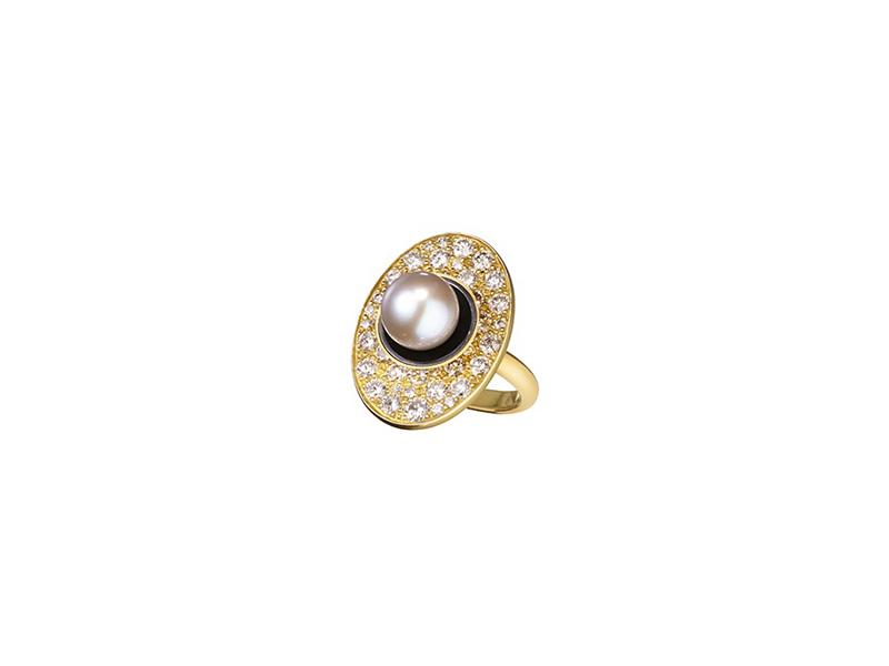 Belmacz Tallulah brilliant cut diamonds enamel tahitian cultured pearl yellow gold ring