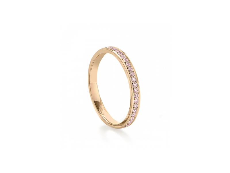 Boodles Harmony half hoop pink diamond wedding band in rose gold