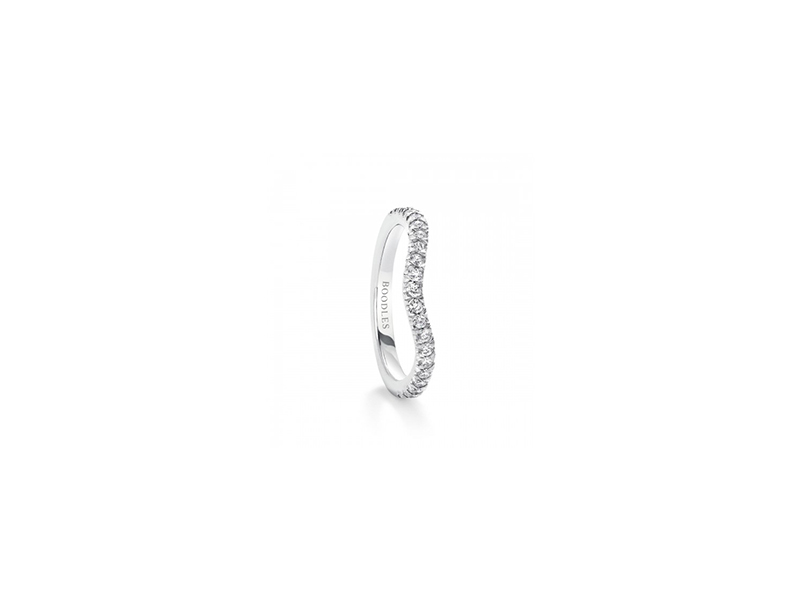 Boodles vintage shaped half hoop diamond wedding band in platinum with diamonds 2700 £
