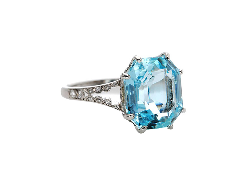 Boucheron  Belle Epoque Aquamarine Diamond Platinum Ring 15000 $