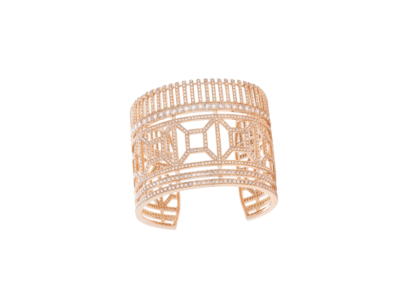 Boucheron Quatre radiant edition cuff bracelet 1282 brown round diamonds mounted on rose gold