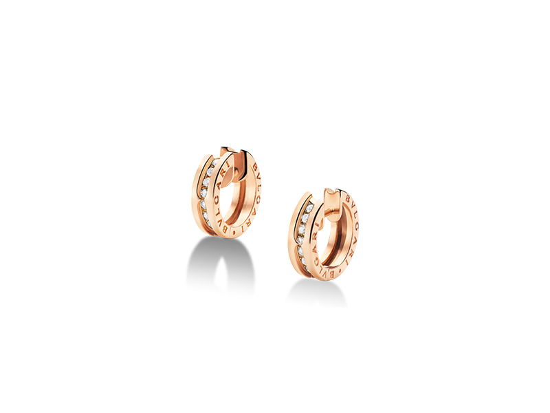 Bvlgari B. Zero 1 small mounted on rose gold and pavé diamond hoop earrings - 3850 $