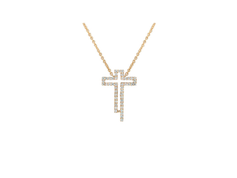 Caratell Silhouette cross pendant rose gold 1600 $
