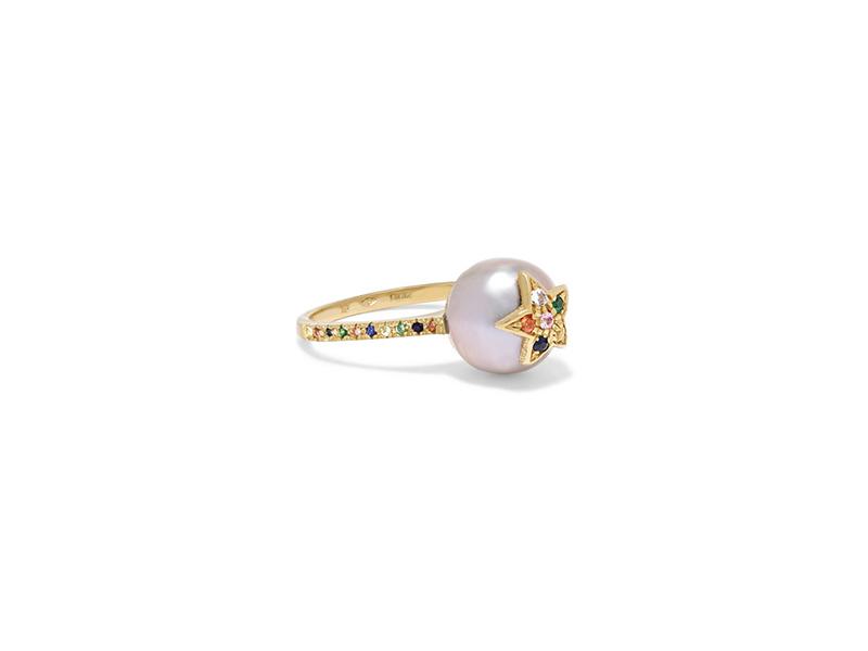 Carolina Bucci Summer star 18 karat gold sapphire and pearls ring 1509€