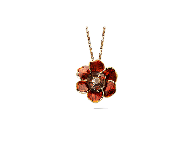 Carrera y Carrera Gardenia pendant in yellow gold with smoky quartz and diamond