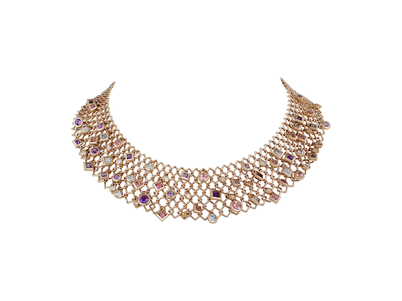 Cartier Paris nouvelle vague choker mounted on rose gold  set with brilliant cut diamonds,amethysts,aquamarines,tourmalines and spinels