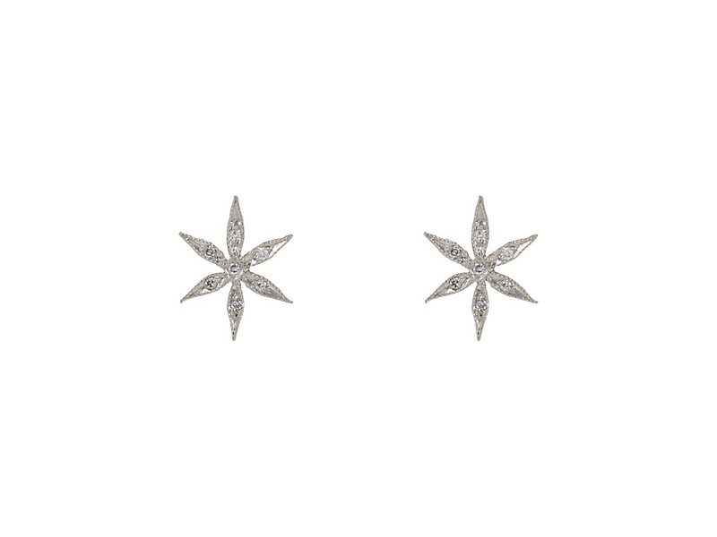 Cathy Waterman Star flower studs earrings mounted on platinum with white diamonds 1'365 $