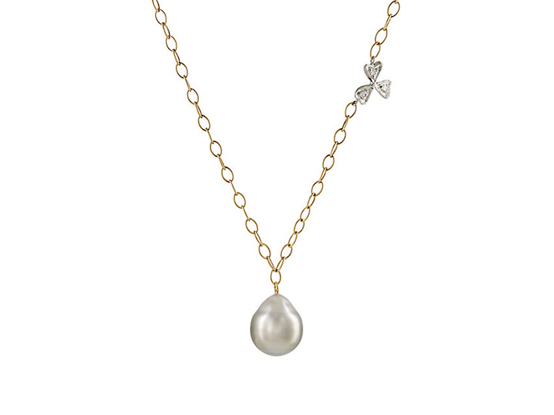 Cathy Waterman Wildflower charm neckalce mounted on platinum yellow gold with grey pearl 2'170 $