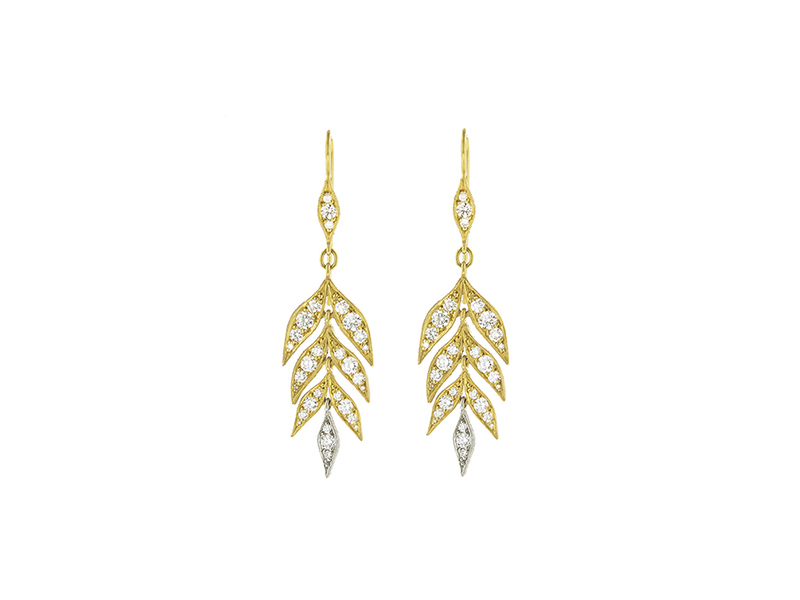 Cathy Waterman Falling leaf drop earrings mounted on gold with diamonds 10'890 £
