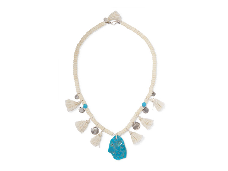 Chan Luu Tasseled turquoise and silver beaded necklace 253 €