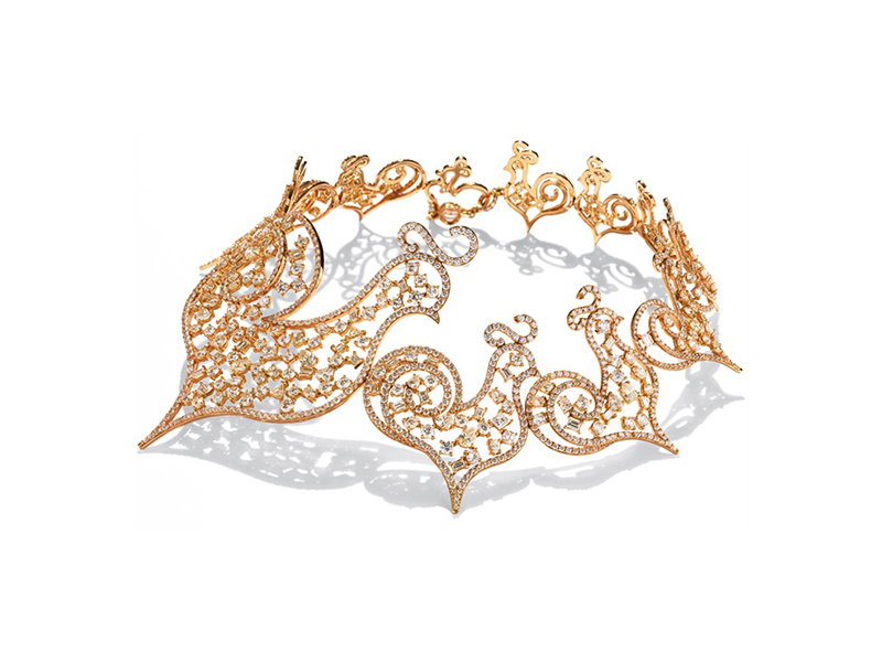 Chantecler Diamour choker mounted on pink gold necklace with diamonds