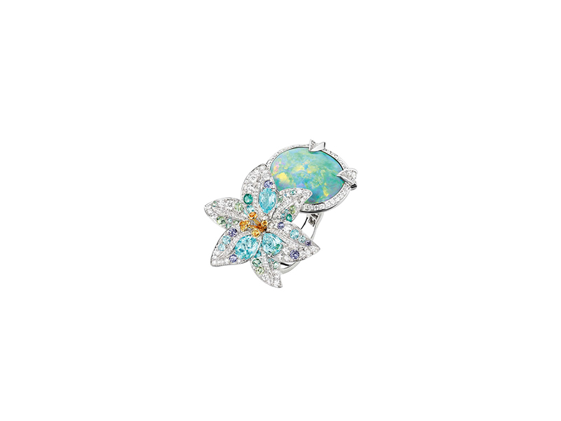 Chaumet Etoiles boréales australian black opal ring white gold tourmaline yellow and violet sapphires rings