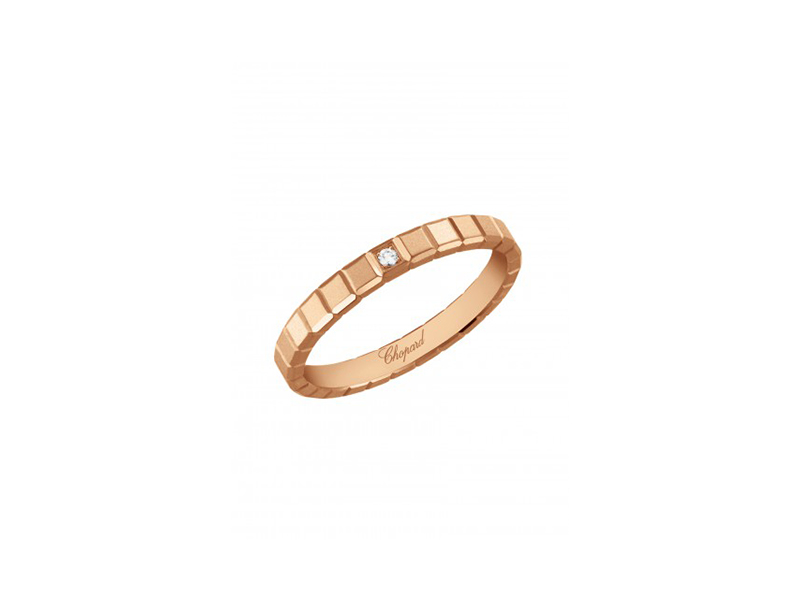 Chopard ice cube ring mounted on rose gold