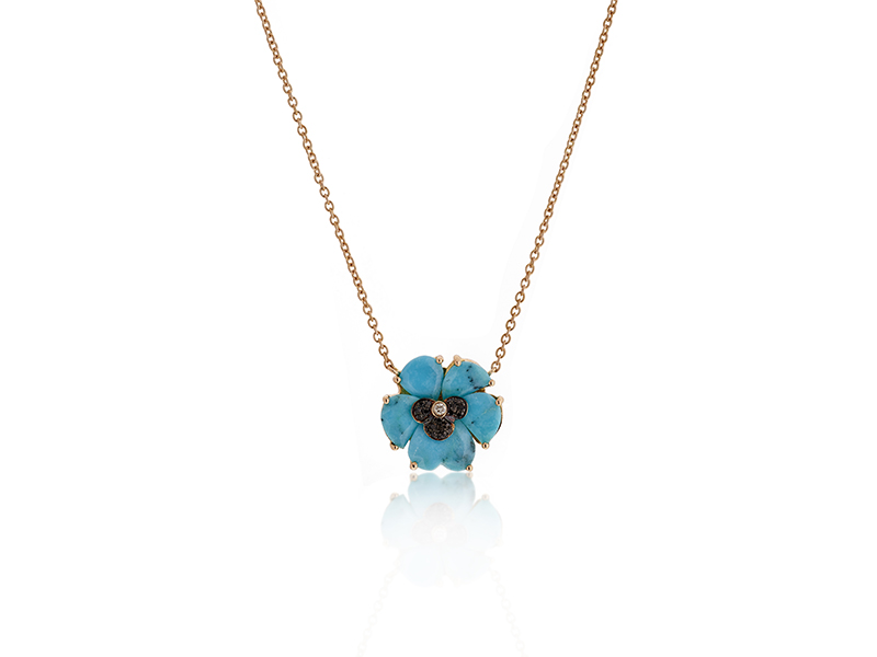 Christina Debs Turquoise pendant with black and white diamonds and pink gold - Wonderland Collection