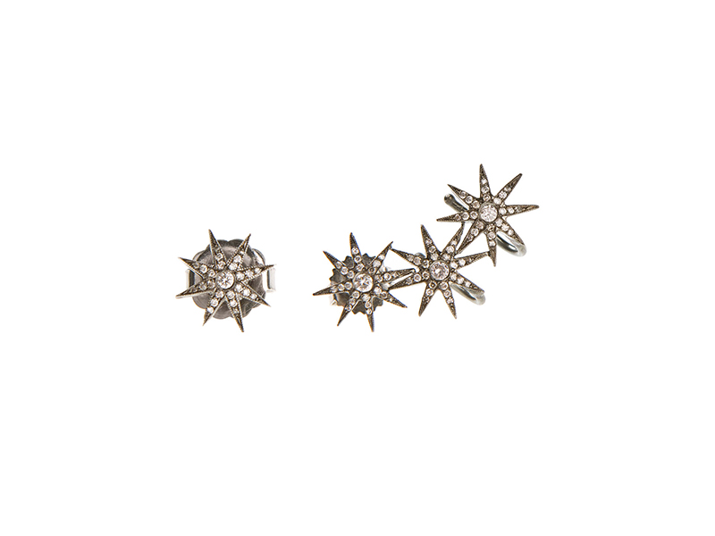Colette Jewelry Orion earrings mounted on black gold with diamonds 3'870 €
