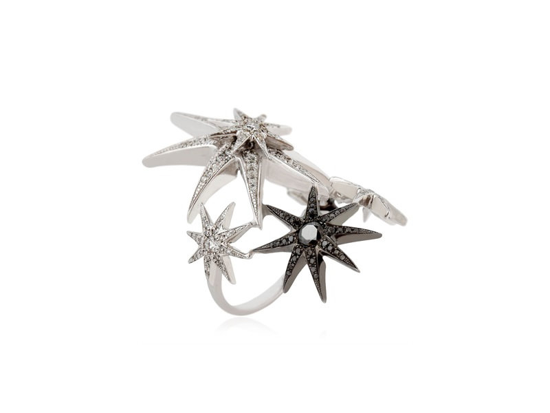 Colette jewelry White star ring mounted on white gold with balck and white diamonds GBP12'074