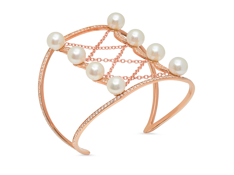 Colette Cuff bracelet mounted on rose gold with pearls