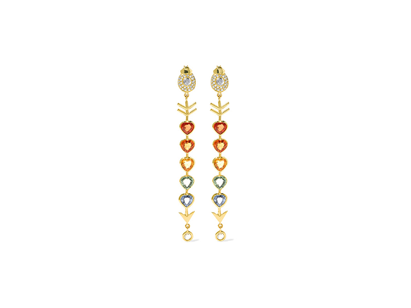 Daniela Villegas Love arrow earrings mounted on gold with diamond and sapphire - 8'939 €