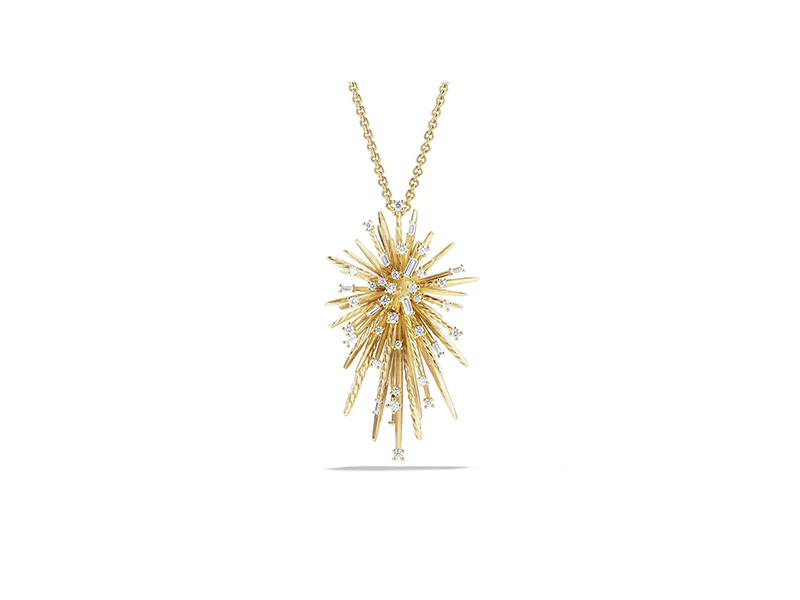 David Yurman Supernova spray pendant necklace mounte on yellow gold with baguette diamonds - 7'330 CHF