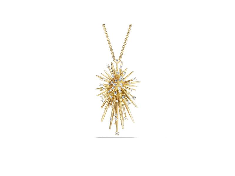 David Yurman Supernova spray pendant necklace mounte on yellow gold with baguette diamonds - 7'330 CHF