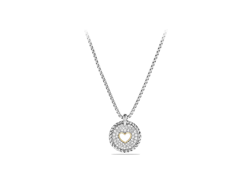 David Yurman Petite pavé diamond heart pendant necklace mounted on stering silver - CHF 1'046