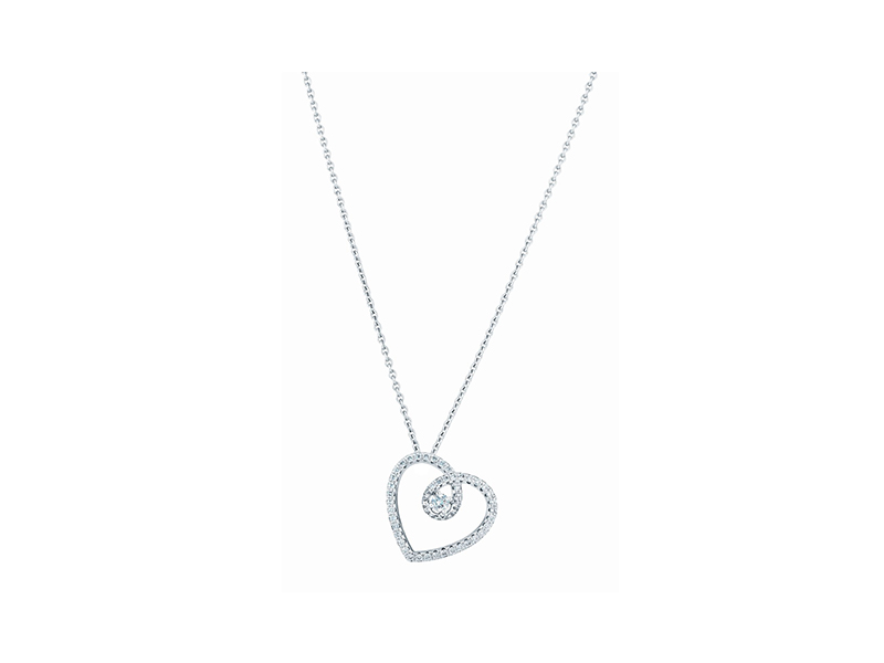 De Beers Heart pendant mounted on white gold with diamonds