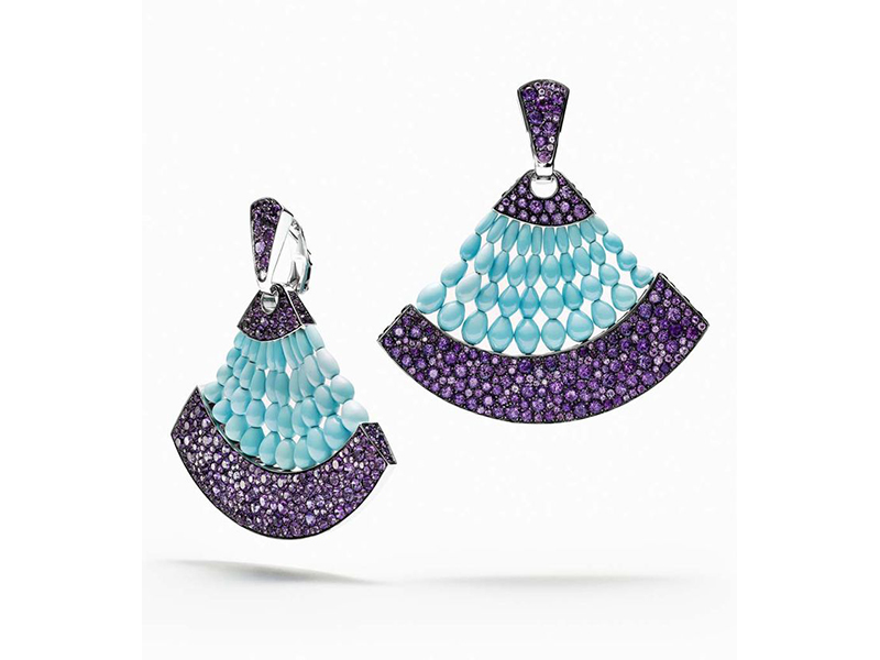 De Grisogono Melody of Colours earrings in white gold, with turquoise and amethysts