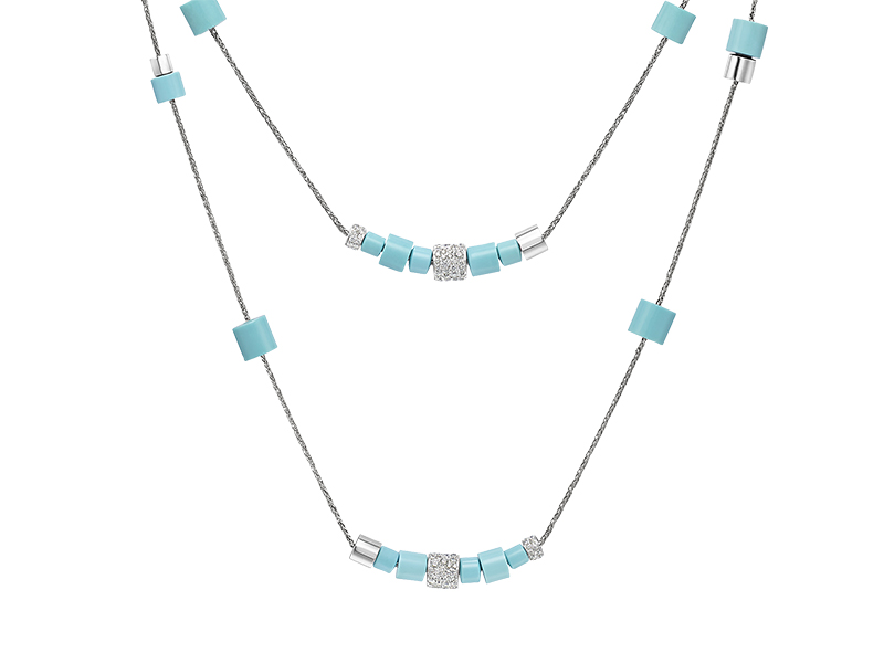 De Grisogono From Tubetto collection - White gold with white diamonds and turquoise